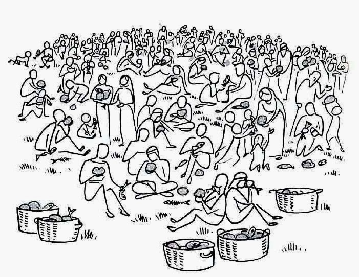 Jesus And Disciples Feeds 5000 People Coloring Page : Coloring Sun | 542x701