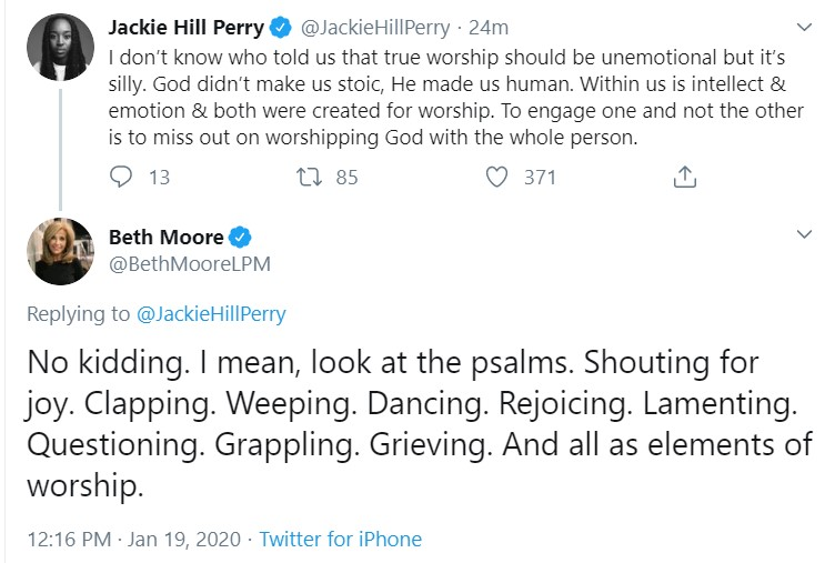 beth moore and jhp on emotional worship